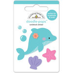 Doodlebug Design - Under the Sea Collection - Doodle-Pops - 3 Dimensional Cardstock Stickers - Daisy Dolphin