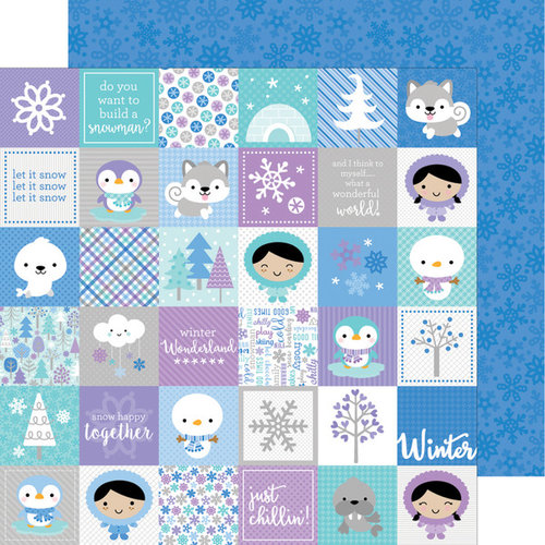 Doodlebug Design - Polar Pals Collection - 12 x 12 Double Sided Paper - Winters Night