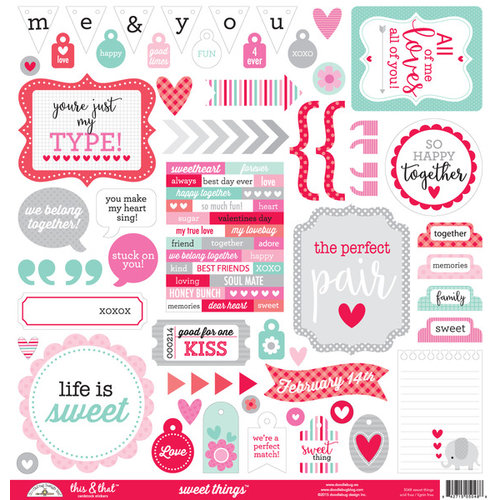 Doodlebug Design - Sweet Things Collection - 12 x 12 Cardstock Stickers - This and That