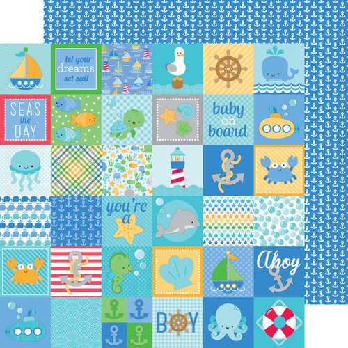 Doodlebug Design - Anchors Aweigh Collection - 12 x 12 Double Sided Paper - Little Sailor