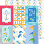 Doodlebug Design - Anchors Aweigh Collection - 12 x 12 Double Sided Paper - Anchors Aweigh