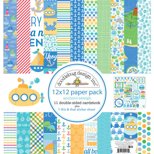 Doodlebug Design - Anchors Aweigh Collection - 12 x 12 Paper Pack