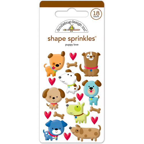 Doodlebug Design - Puppy Love Collection - Sprinkles - Self Adhesive Enamel Shapes