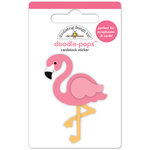 Doodlebug Design - Fun in the Sun Collection - Doodle-Pops - 3 Dimensional Cardstock Stickers - Pink Flamingo