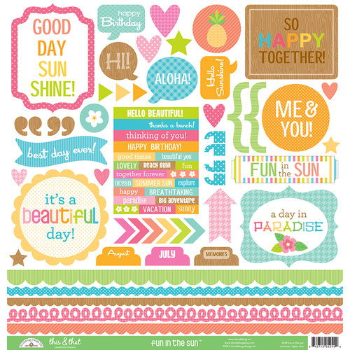 Doodlebug Design - Fun in the Sun Collection - 12 x 12 Cardstock Stickers - This and That