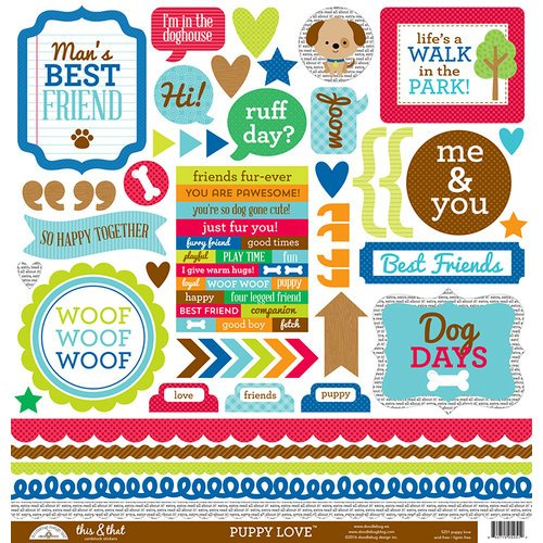 Doodlebug Design - Puppy Love Collection - 12 x 12 Cardstock Stickers - This and That