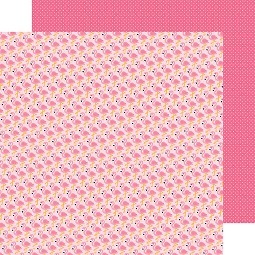 Doodlebug Design - Fun in the Sun Collection - 12 x 12 Double Sided Paper - Flock of Flamingos