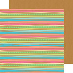 Doodlebug Design - Fun in the Sun Collection - 12 x 12 Double Sided Paper - Surf Stripe