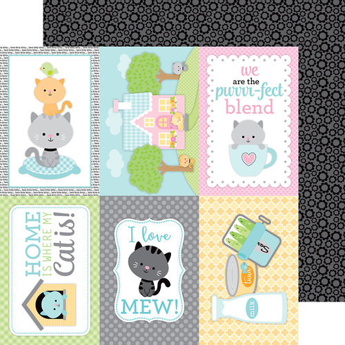 Doodlebug Design - Kitten Smitten Collection - 12 x 12 Double Sided Paper - Black Blossoms