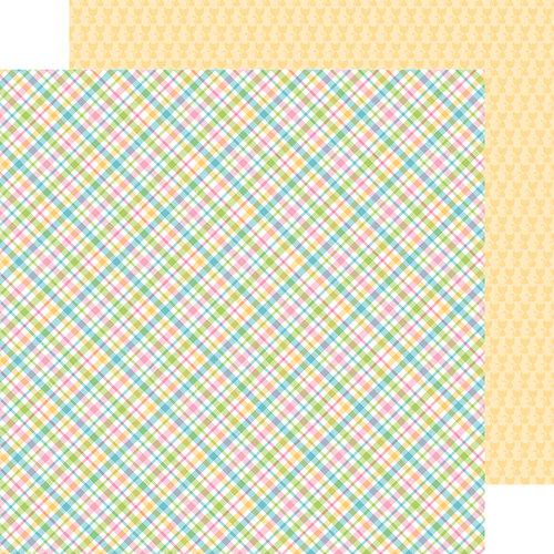 Doodlebug Design - Kitten Smitten Collection - 12 x 12 Double Sided Paper - Pastel Plaid