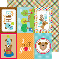 Doodlebug Design - Puppy Love Collection - 12 x 12 Double Sided Paper - Plaid to the Bone