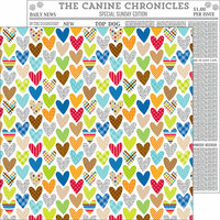 Doodlebug Design - Puppy Love Collection - 12 x 12 Double Sided Paper - I Ruff You