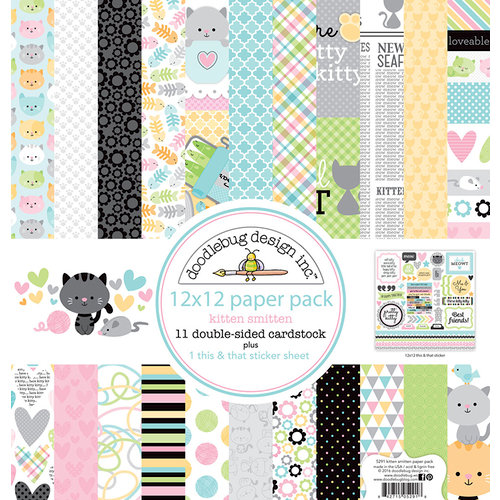 Doodlebug Design - Kitten Smitten Collection - 12 x 12 Paper Pack