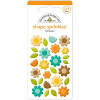 Doodlebug Design - Flea Market Collection - Sprinkles - Self Adhesive Enamel Shapes - Fall Flowers