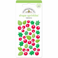 Doodlebug Design - Here Comes Santa Claus Collection - Christmas - Sprinkles - Self Adhesive Enamel Shapes - Holly Berries