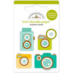 Doodlebug Design - Flea Market Collection - Doodle-Pops - 3 Dimensional Cardstock Stickers - Classic Cameras Mini