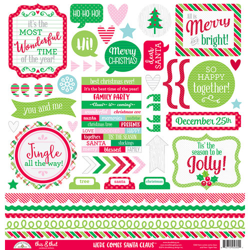 Doodlebug Design - Here Comes Santa Claus Collection - Christmas - 12 x 12 Cardstock Stickers - This and That