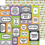 Doodlebug Design - Boos and Brews Collection - Halloween - 12 x 12 Double Sided Paper - Bottles and Brews