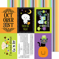 Doodlebug Design - Boos and Brews Collection - Halloween - 12 x 12 Double Sided Paper - Trick or Treat Stripe