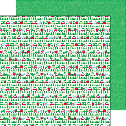 Doodlebug Design - Here Comes Santa Claus Collection - Christmas - 12 x 12 Double Sided Paper - Tree Lot
