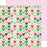 Doodlebug Design - Here Comes Santa Claus Collection - Christmas - 12 x 12 Double Sided Paper - Holiday Hearts