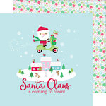 Doodlebug Design - Here Comes Santa Claus Collection - Christmas - 12 x 12 Double Sided Paper - Frosty Flakes