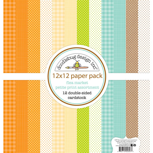 Doodlebug Design - Flea Market Collection - 12 x 12 Paper Pack - Petite Print Assortment