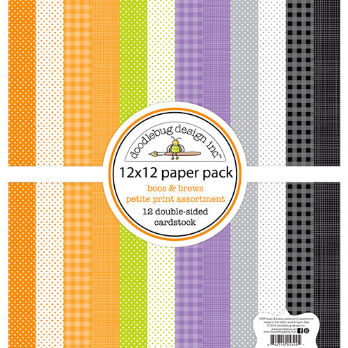 Doodlebug Design - Boos and Brews Collection - Halloween - 12 x 12 Paper Pack - Petite Print Assortment