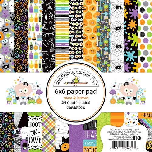 Doodlebug Design - Boos and Brews Collection - Halloween - 6 x 6 Paper Pad