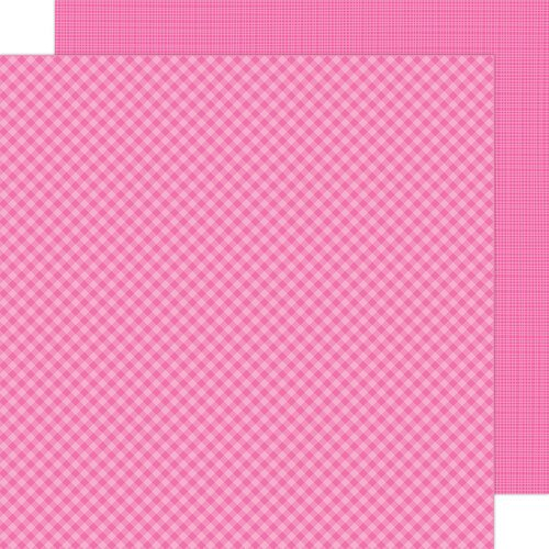 Doodlebug Design - Petite Prints Collection - 12 x 12 Double Sided Paper - Gingham and Linen - Bubblegum