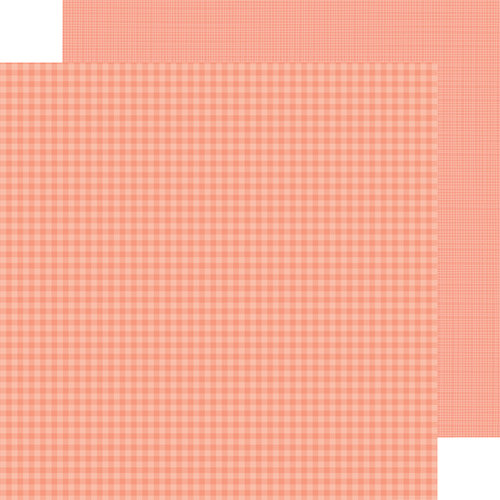 Doodlebug Design - Petite Prints Collection - 12 x 12 Double Sided Paper - Gingham and Linen - Coral