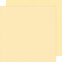 Doodlebug Design - Petite Prints Collection - 12 x 12 Double Sided Paper - Gingham and Linen - Lemon