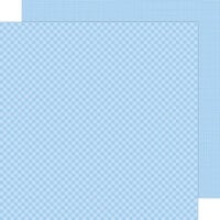 Doodlebug Design - Petite Prints Collection - 12 x 12 Double Sided Paper - Gingham and Linen - Bubble Blue