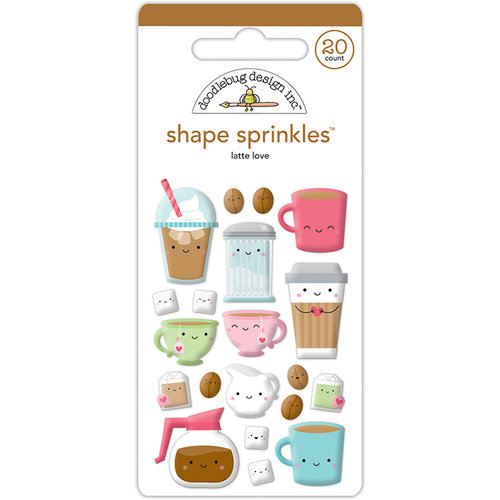 Doodlebug Design - Cream and Sugar Collection - Sprinkles - Self Adhesive Enamel Shapes - Latte Love