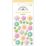 Doodlebug Design - Spring Things Collection - Sprinkles - Self Adhesive Enamel Shapes - Pastel Posies