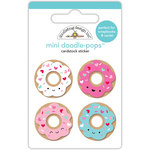 Doodlebug Design - Cream and Sugar Collection - Doodle-Pops - 3 Dimensional Cardstock Stickers - Mini Donuts Mini