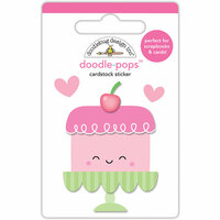 Doodlebug Design - Cream and Sugar Collection - Doodle-Pops - 3 Dimensional Cardstock Stickers - Sweet Cake