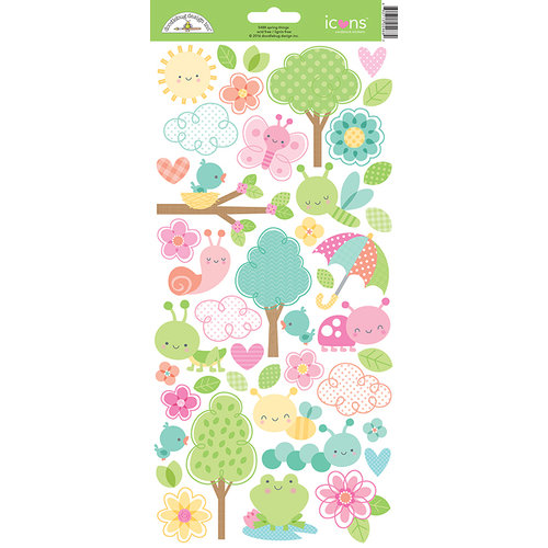 Doodlebug Design - Spring Things Collection - Cardstock Stickers - Icons