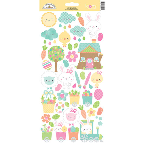 Doodlebug Design - Easter Express Collection - Cardstock Stickers - Icons