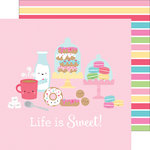 Doodlebug Design - Cream and Sugar Collection - 12 x 12 Double Sided Paper - Sweet Shoppe Stripe