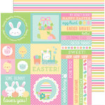 Doodlebug Design - Easter Express Collection - 12 x 12 Double Sided Paper - Springtime Stripe