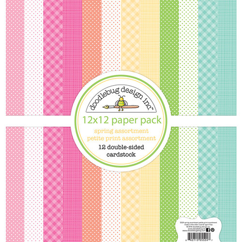 Doodlebug Design - Spring Things Collection - 12 x 12 Paper Pack - Petite Print Assortment