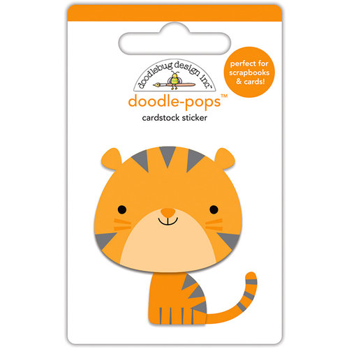 Doodlebug Design - At the Zoo Collection - Doodle-Pops - 3 Dimensional Cardstock Stickers - Tommy Tiger
