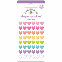 Doodlebug Design - Fairy Tales Collection - Sprinkles - Self Adhesive Enamel Shapes - Rainbow Hearts