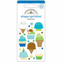 Doodlebug Design - Dragon Tails Collection - Sprinkles - Self Adhesive Enamel Shapes - Birthday Treats
