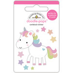 Doodlebug Design - Fairy Tales Collection - Doodle-Pops - 3 Dimensional Cardstock Stickers - Unicorn