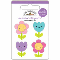 Doodlebug Design - Fairy Tales Collection - Doodle-Pops - 3 Dimensional Cardstock Stickers - Flower Friends Mini