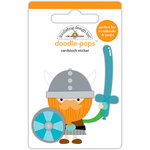Doodlebug Design - Dragon Tails Collection - Doodle-Pops - 3 Dimensional Cardstock Stickers - Wee Warrior
