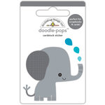 Doodlebug Design - At the Zoo Collection - Doodle-Pops - 3 Dimensional Cardstock Stickers - Eddie Elephant