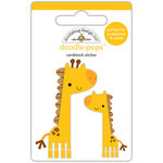 Doodlebug Design - At the Zoo Collection - Doodle-Pops - 3 Dimensional Cardstock Stickers - Jenny and Jojo Giraffe
